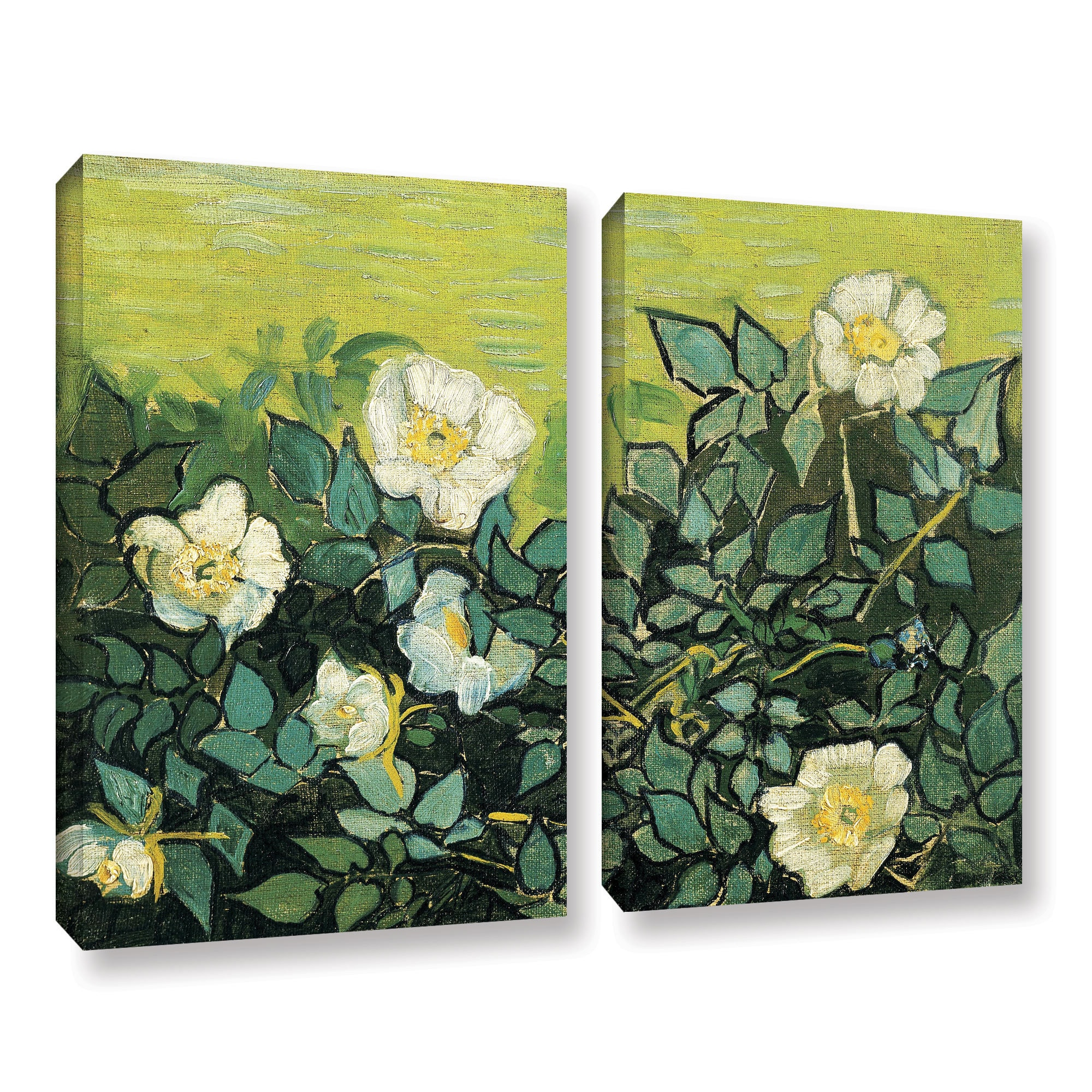 ArtWall Vincent Vangoghs Wild Roses 4 Piece Gallery-Wrapped Canvas Set 36X48