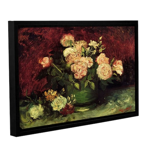 ArtWall 'Vincent van Gogh's Roses and Peonies' Gallery Wrapped Floater-framed Canvas