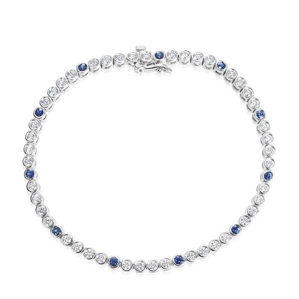 SummerRose 18k White Gold 2ct TDW Diamond and Sapphire Tennis Bracelet