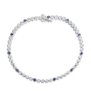 Andrew Charles 18k White Gold 2ct TDW Diamond and Sapphire Tennis Bracelet (G-H, VS1-VS2)