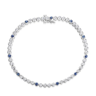 Andrew Charles 18k White Gold 2ct TDW Diamond and Sapphire Tennis Bracelet