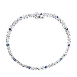 SummerRose 18k White Gold 2ct TDW Diamond and Sapphire Tennis Bracelet