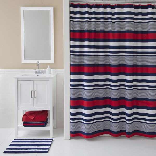 IZOD Varsity Stripe Shower Curtain  Free Shipping On Orders Over