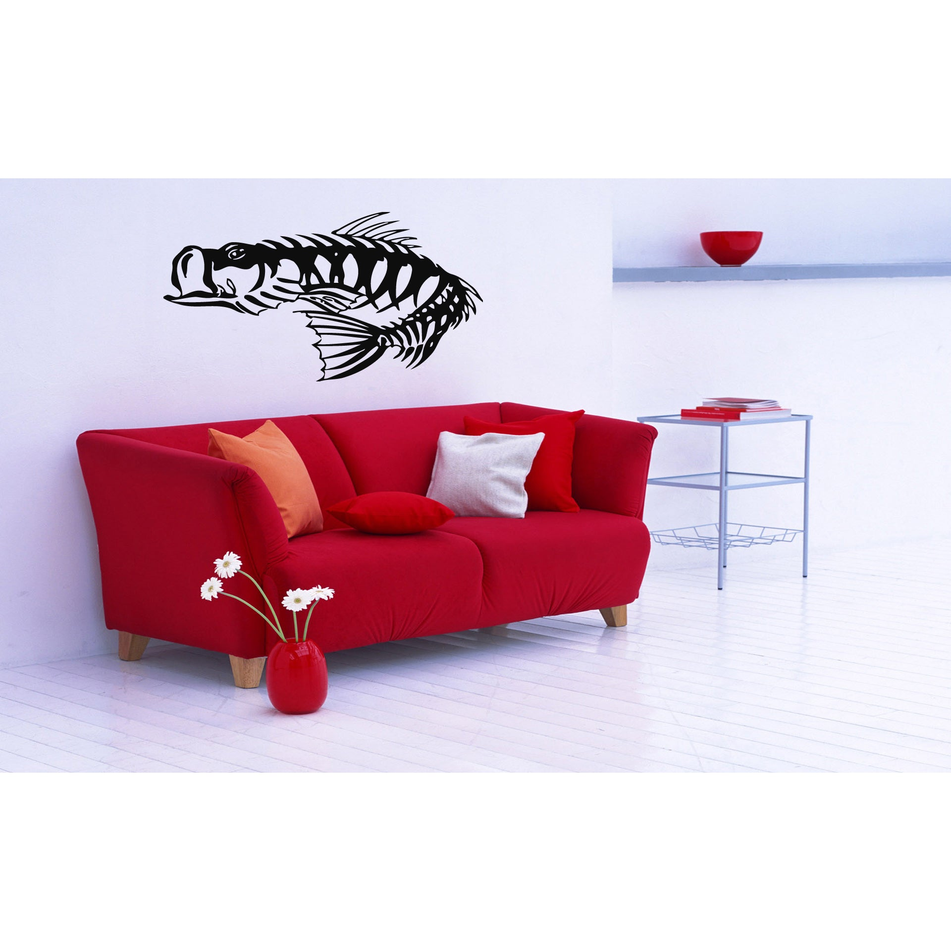 Fish Skeleton Wall Art Sticker Decal (22 inches x 28 inch...