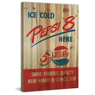 Marmont Hill - 'Ice Cold Pepsi '8'' Painting Print on Natural Pine Wood