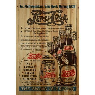 Marmont Hill - 'The Swing is to Pepsi-Cola' Painting Print on Natural Pine Wood