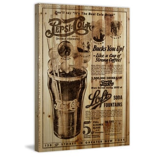 Marmont Hill - 'Pepsi Bucks You Up!' Painting Print on Natural Pine Wood