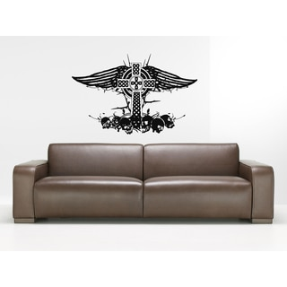 Celtic cross Wings and Skull Wall Art Sticker Decal
