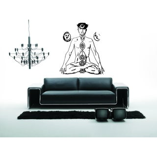 Yoga Mysterious Chakra A man relaxes Wall Art Sticker Decal