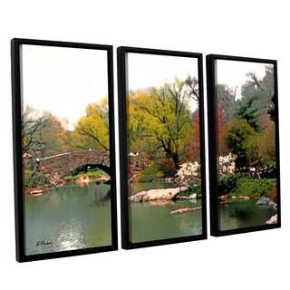 ArtWall 'Linda Parker's Saturday Central Park' 3-piece Floater Framed Canvas Set