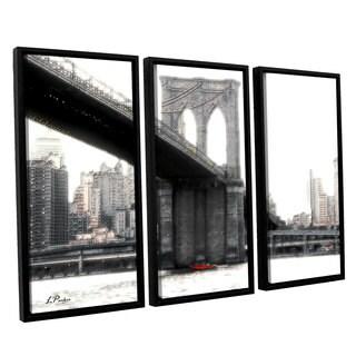 ArtWall 'Linda Parker's NYC's Brooklyn Bridge' 3-piece Floater Framed Canvas Set