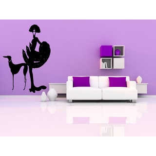 An elegant woman with a dog Wall Art Sticker Decal