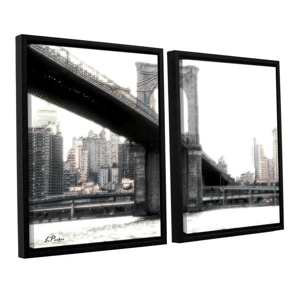ArtWall 'Linda Parker's NYC's Brooklyn Bridge' 2-piece Floater Framed Canvas Set - Multi