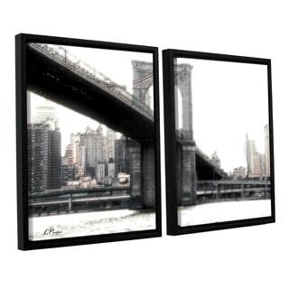 ArtWall 'Linda Parker's NYC's Brooklyn Bridge' 2-piece Floater Framed Canvas Set