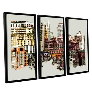 ArtWall 'Linda Parker's NYC Manhattan Cluster' 3-piece Floater Framed Canvas Set