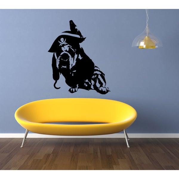 English Bulldog Pirate and Parrot Wall Art Sticker Decal - Free ...