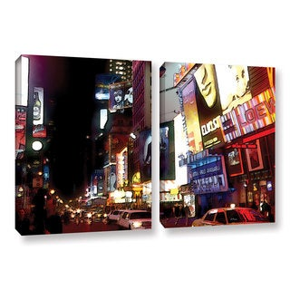 ArtWall 'Linda Parker's NYC Bright Lights Broadway' 2-piece Gallery Wrapped Canvas Set