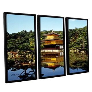 ArtWall 'Linda Parker's Kyoto's Golden Pavilion' 3-piece Floater Framed Canvas Set