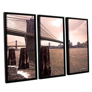 ArtWall 'Linda Parker's Brooklyn Bridge at Sunset' 3-piece Floater Framed Canvas Set