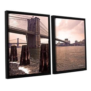 ArtWall 'Linda Parker's Brooklyn Bridge at Sunset' 2-piece Floater Framed Canvas Set