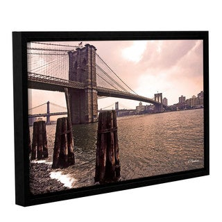 ArtWall 'Linda Parker's Brooklyn Bridge at Sunset' Gallery Wrapped Floater-framed Canvas