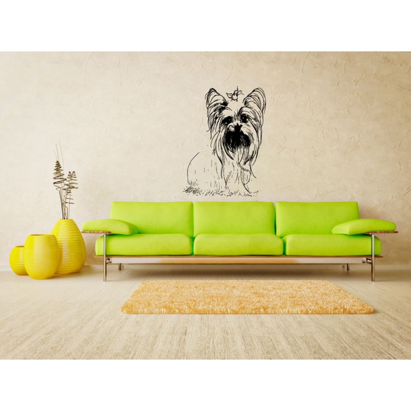 Yorkshire Terrier Dog Bow Girl Wall Art Sticker Decal - Free ...