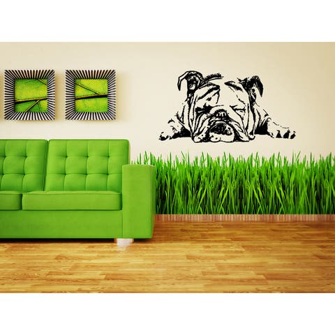 English Bulldog Dog Sleepy Wall Art Sticker Decal