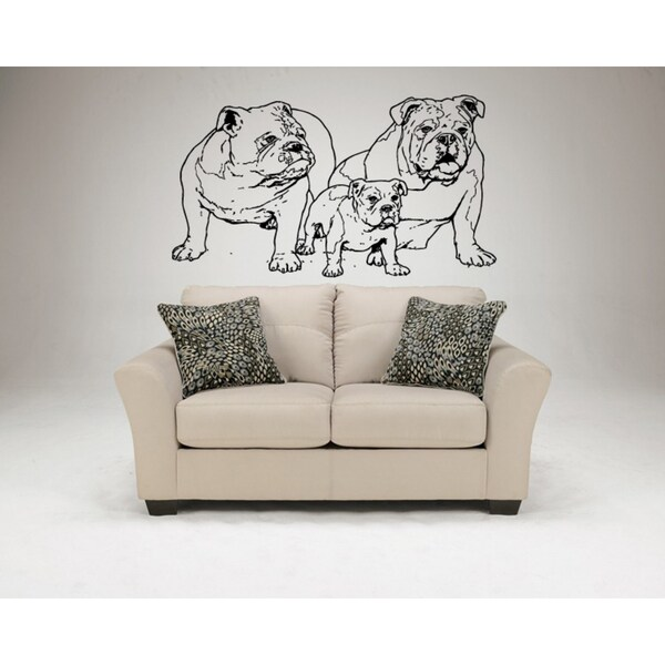 English Bulldog Dog A family Wall Art Sticker Decal