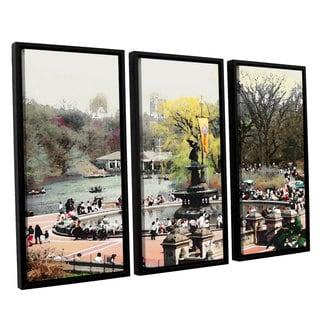 ArtWall 'Linda Parker's Bethesda Fountain' 3-piece Floater Framed Canvas Set
