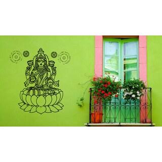 Lakshmi Hindu goddess of wealth Lotus The sun Wall Art Sticker Decal