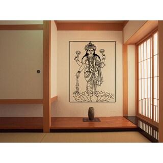 Lakshmi Hindu goddess Beautiful lotus flower Wall Art Sticker Decal