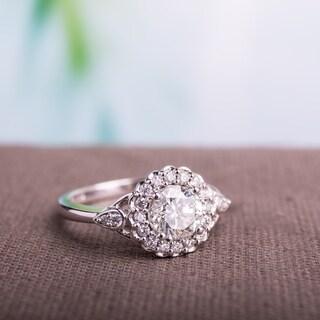 Miadora Signature Collection 14k White Gold 1 1/4ct TDW Diamond Halo Engagement Ring