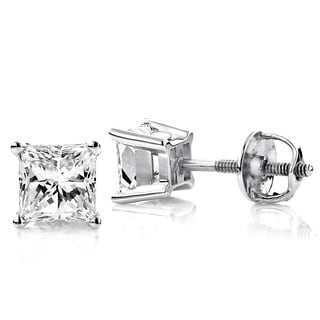 Luxurman Platinum 1ct TDW Solitaire Princess-cut Diamond Stud Earrings (G-H, VS1-VS2 )