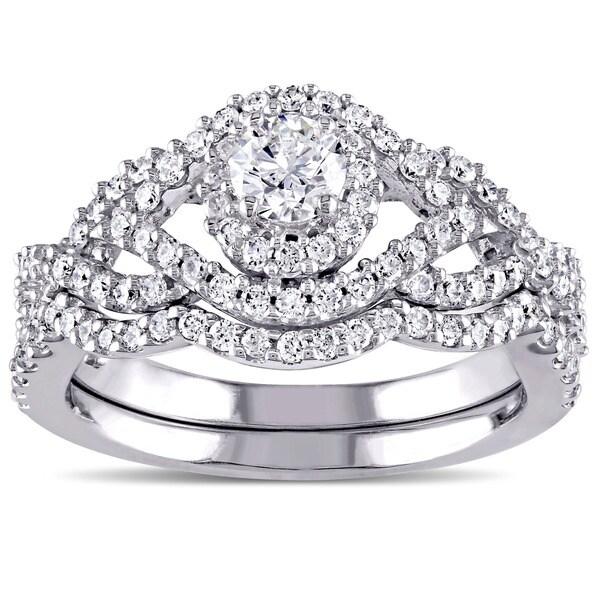 Miadora Signature Collection 14k White Gold 1ct TDW Diamond Bridal Ring Set