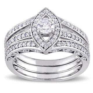 Miadora Signature Collection 10k White Gold 1ct TDW Diamond Bridal Ring Set