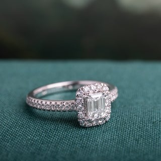 Miadora Signature Collection 14k White Gold 7/8ct TDW Emerald-cut Diamond Engagement Ring (3 options available)