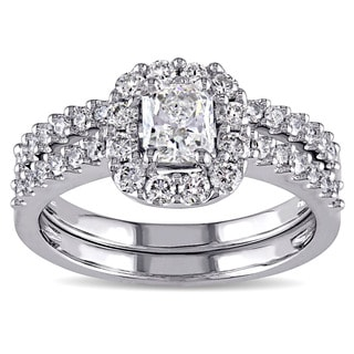 Miadora Signature Collection 14k White Gold 1 1/6ct TDW Radiant-cut Diamond Halo Bridal Ring Set