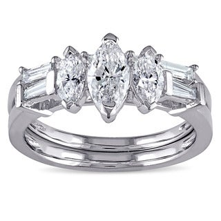 Miadora Signature Collection 14k White Gold 1 1/4ct TDW Marquise-cut Diamond Bridal Ring Set (G-H, I1-I2)
