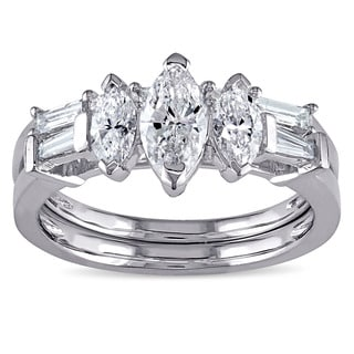 Miadora Signature Collection 14k White Gold 1 1/4ct TDW Marquise-cut Diamond Bridal Ring Set