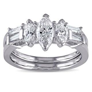 Miadora Signature Collection 14k White Gold 1 1/4ct TDW Marquise-cut Diamond Bridal Ring Set