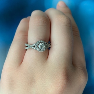 Miadora Signature Collection 14k White Gold 4/5ct TDW Diamond Halo Infinity Engagement Ring