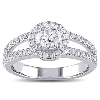 Miadora Signature Collection 14k White Gold 1 1/3ct TDW Diamond Halo Engagement Ring