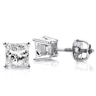 Luxurman Platinum 3/4ct TDW Princess-cut Diamond Stud Earrings (G-H, VS1-VS2 )