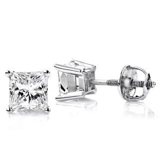 Luxurman Platinum 1/2ct TDW Solitaire Princess-cut Diamond Stud Earrings