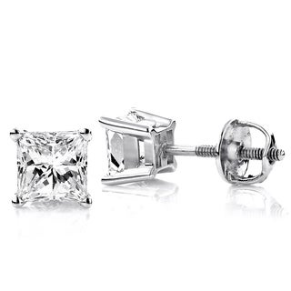 Luxurman Platinum 1/3ct TDW Solitaire Princess-cut Diamond Stud Earrings (G-H, VS1-VS2 )