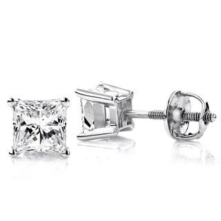 Luxurman Platinum 1/3ct TDW Solitaire Princess-cut Diamond Stud Earrings