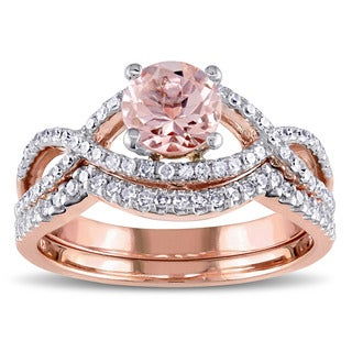 Miadora Signature Collection 14k Rose Gold Morganite and 3/8ct TDW Diamond Infinity Bridal Ring Set