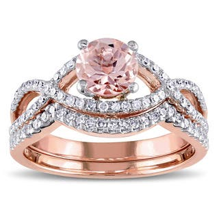 miadora signature collection 14k rose gold morganite and 38ct tdw diamond infinity bridal ring - Morganite Wedding Ring Set