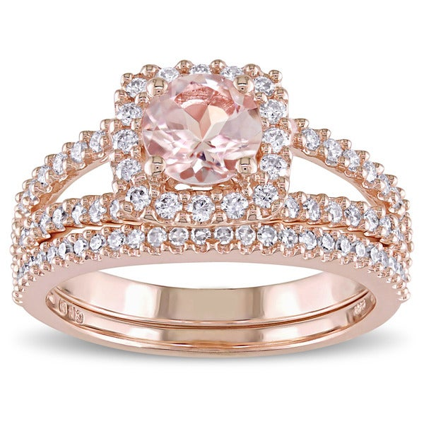 Miadora Signature Collection 14k Rose Gold Morganite and 5/8ct TDW Diamond Halo Bridal Ring Set