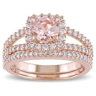 Miadora Signature Collection 14k Rose Gold Morganite And 5 8ct Tdw Diamond Halo Bridal Ring